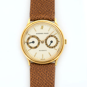 Audemars Piguet Vintage N/A 18k YG  Mint Gents 18k YG Cream 33mm Automatic 1990s Handmade Brown Leather N/A