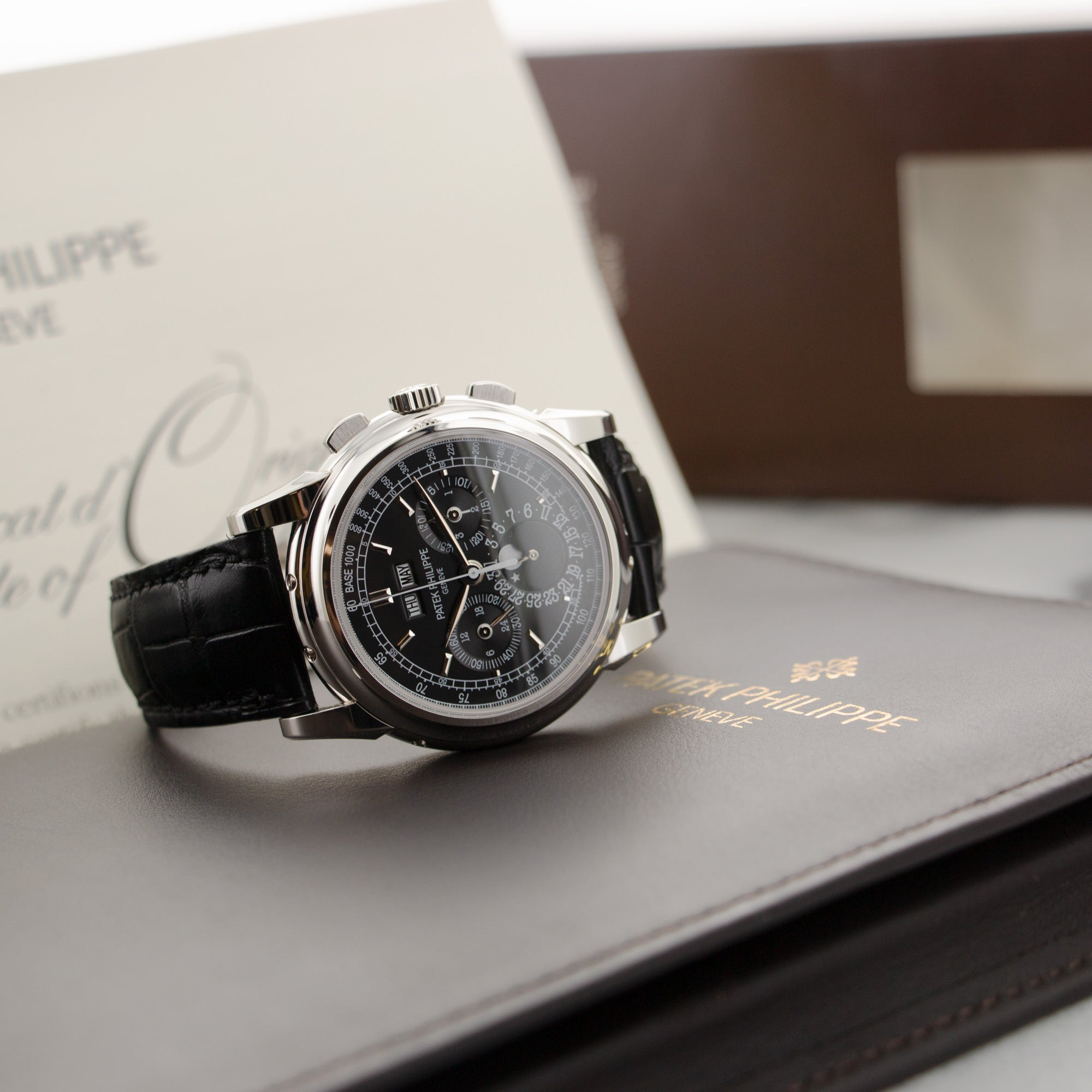 Patek Philippe Perpetual Calendar Chrono 5970P Platinum  Likely Never Polished, Original Finish Gents Platinum Black 40mm Manual 2010 Black Crocodile Box, Certificate, and Additional Solid Case Back