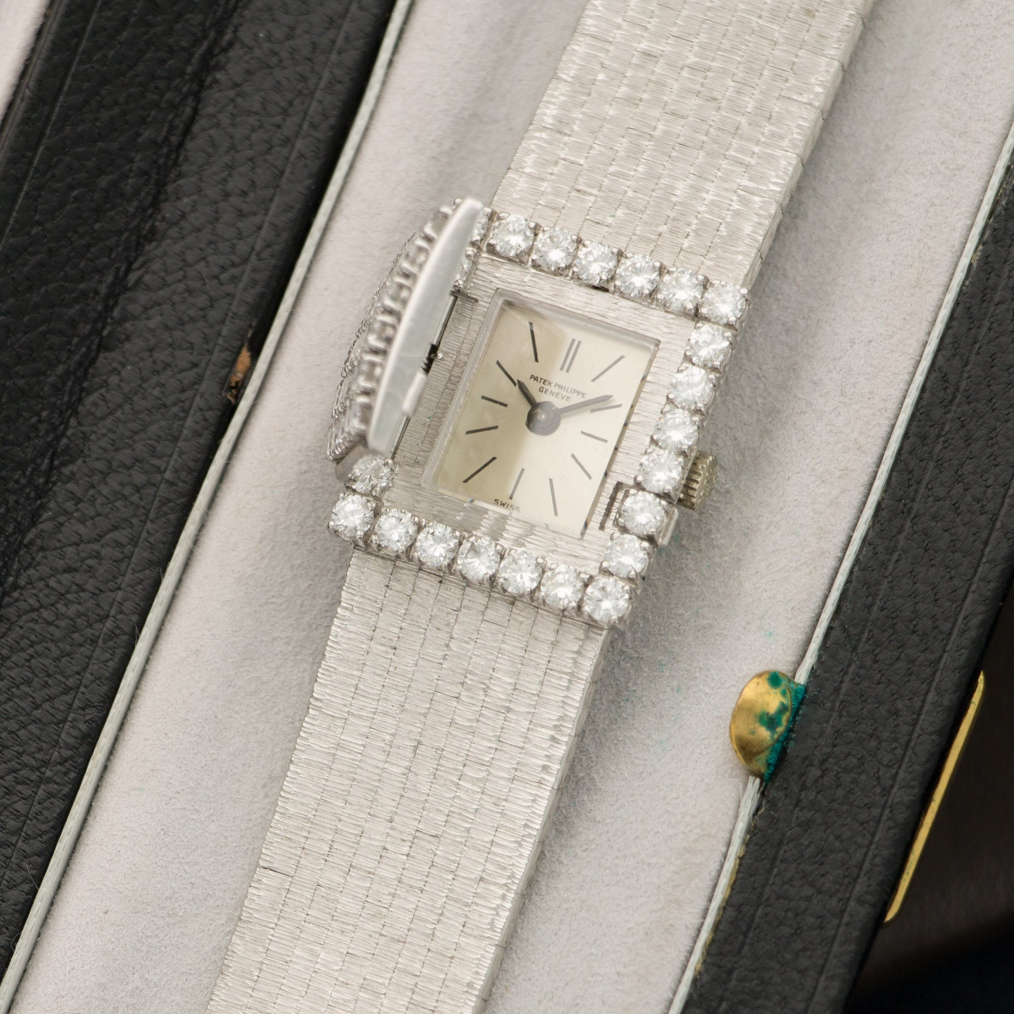 Patek Philippe Vintage 3319 18k WG  Likely Never Polished, Original Finish Ladies 18k WG Silver with Applied Indexes 19mm X 21.5mm Manual 1960s White Gold (170mm) Box