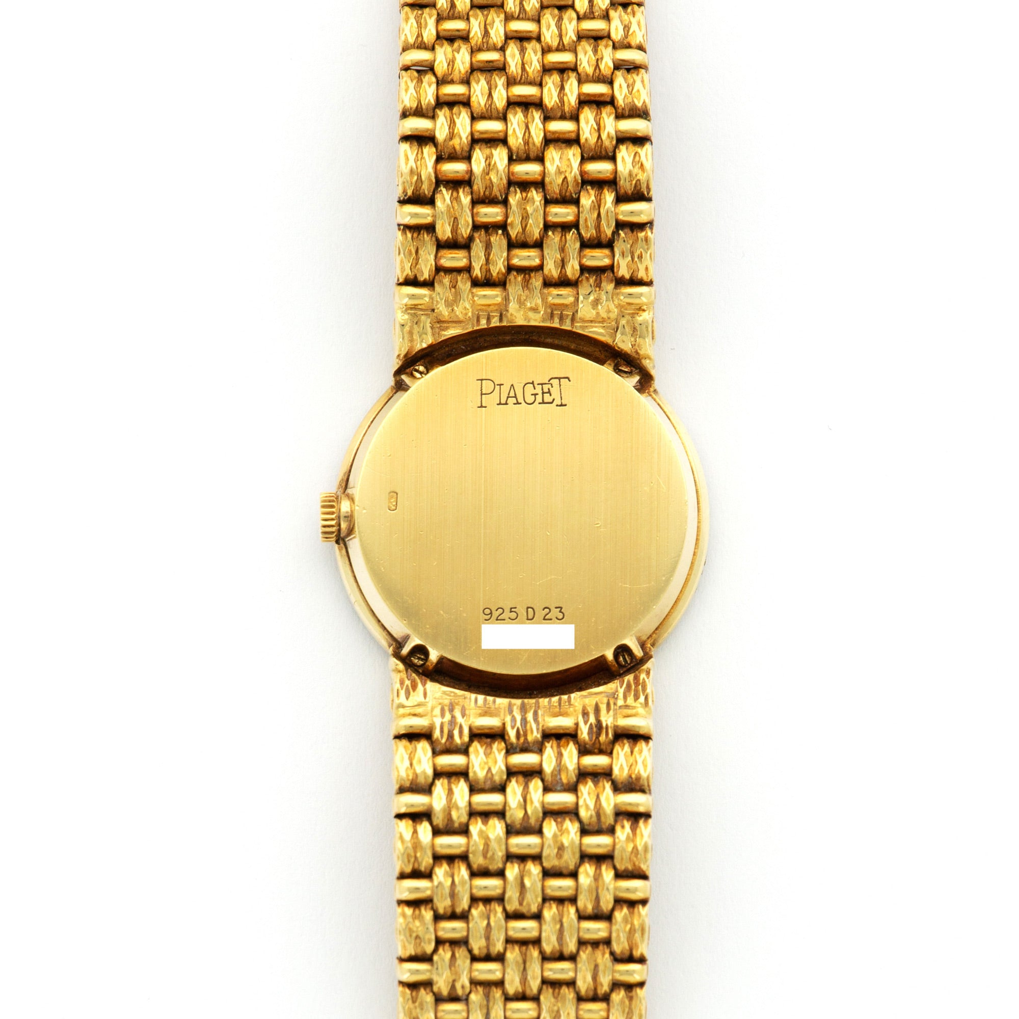 Piaget Vintage 925 18k YG  Excellent Ladies 18k YG Pave Diamond 25mm Manual 1970s Yellow Gold Bracelet (165mm) Leather Travel Case