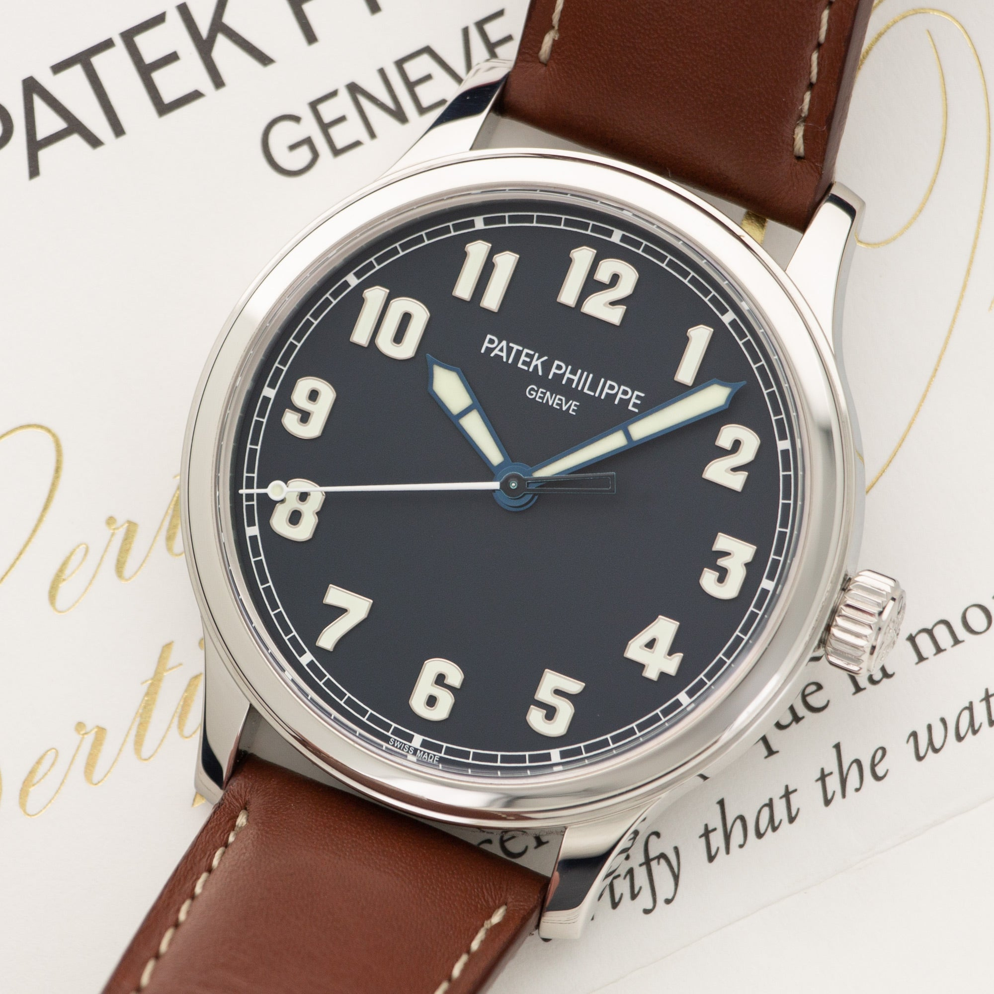 Patek Philippe Pilot 5522A-001 Steel  Likely Never Polished, Original Finish Gents Steel Blue 42mm Automatic 2017 Brown Calf Leather Original Box and Certificate