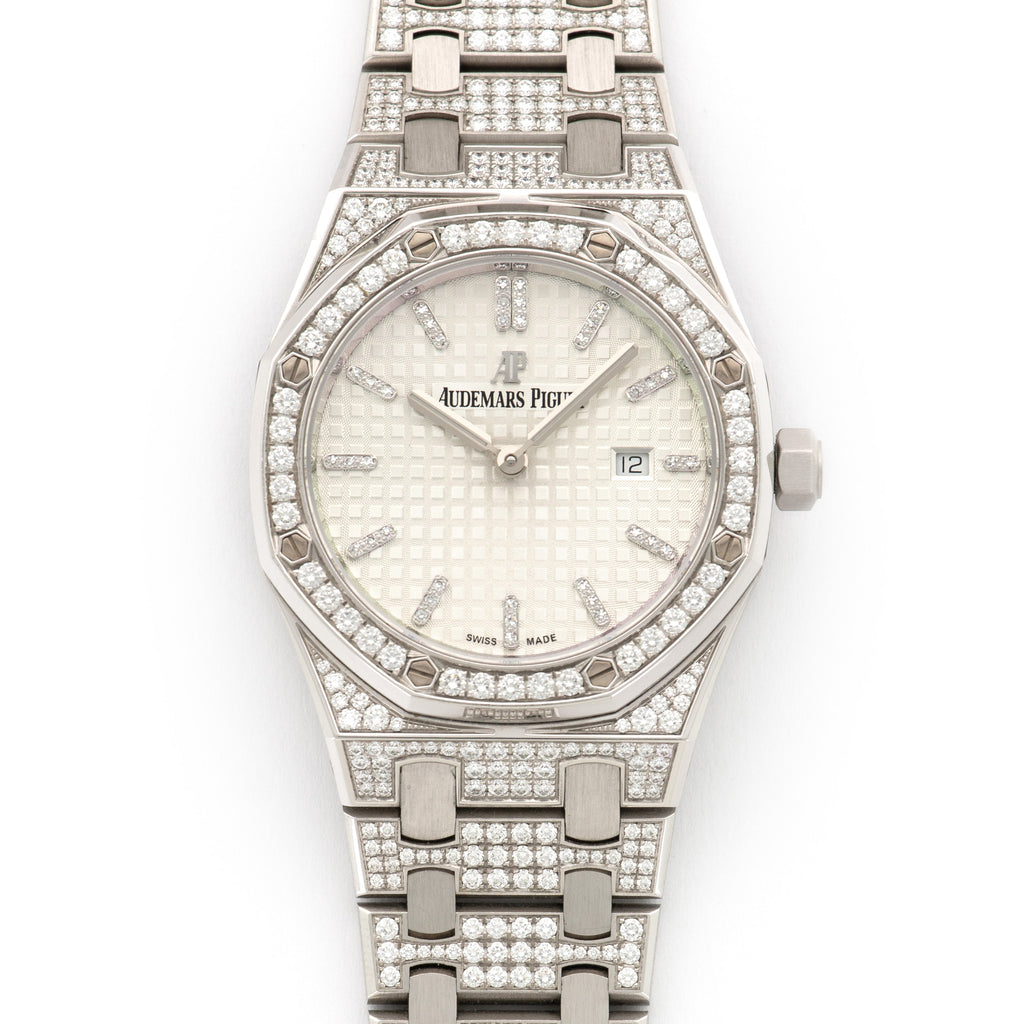 Audemars Piguet Royal Oak 67652BC.ZZ.1262BC.01 18k WG  Excellent Ladies 18k WG Silver 33 mm Quartz Current White Gold Bracelet with Diamonds Original Box