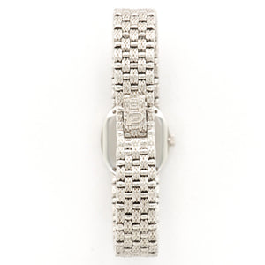 Piaget Vintage 8326 18k WG  Excellent Ladies 18k WG Silver with Diamonds 19.5mm Manual 1980s White Gold Bracelet Leather Travel Case