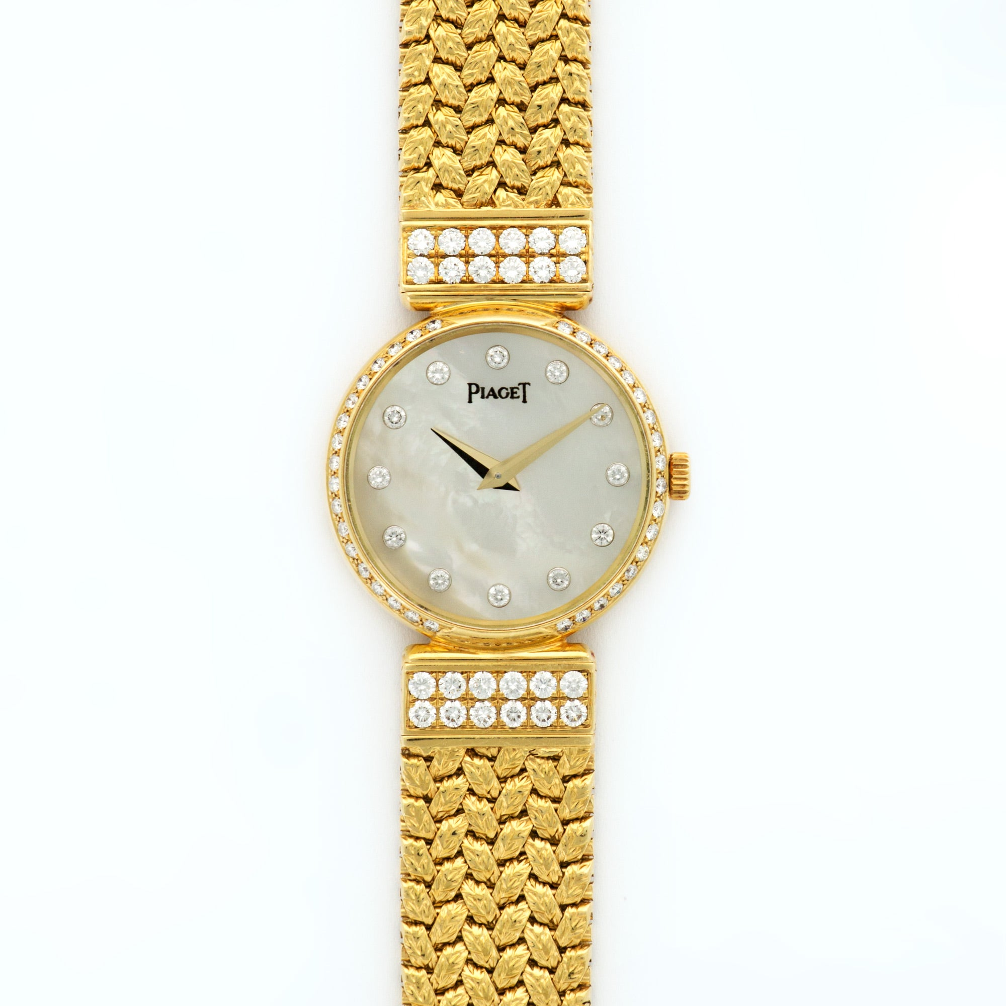 Piaget Vintage 80552 18k YG  Excellent Ladies 18k YG Mother of Pearl with Diamond Markers 23mm Quartz 1970s Yellow Gold Bracelet (180mm) N/A