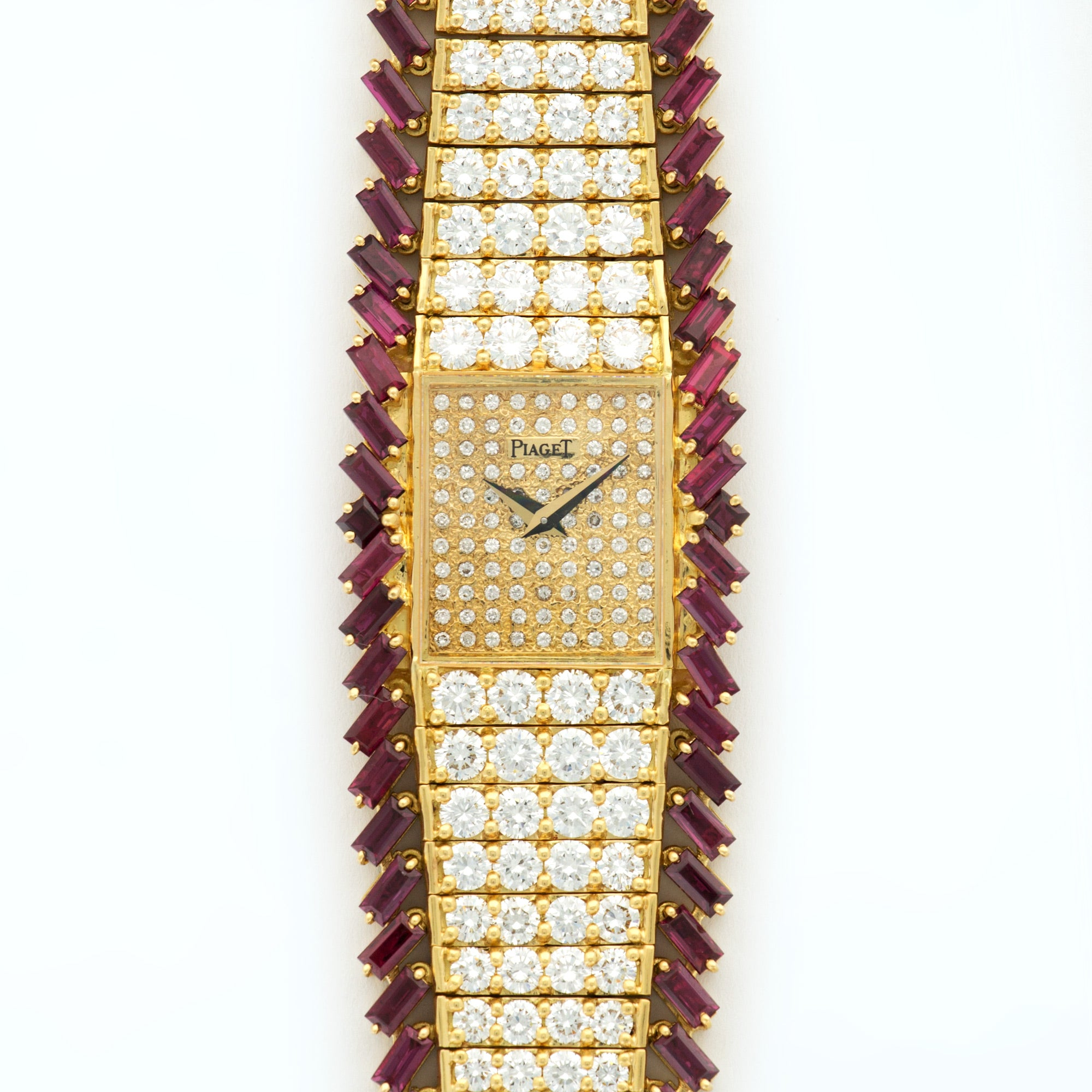 Piaget Vintage 41541 18k YG  Excellent Ladies 18k YG Pave Diamond 26mm Manual 1980s Yellow Gold with Diamonds & Rubies (165mm) N/A