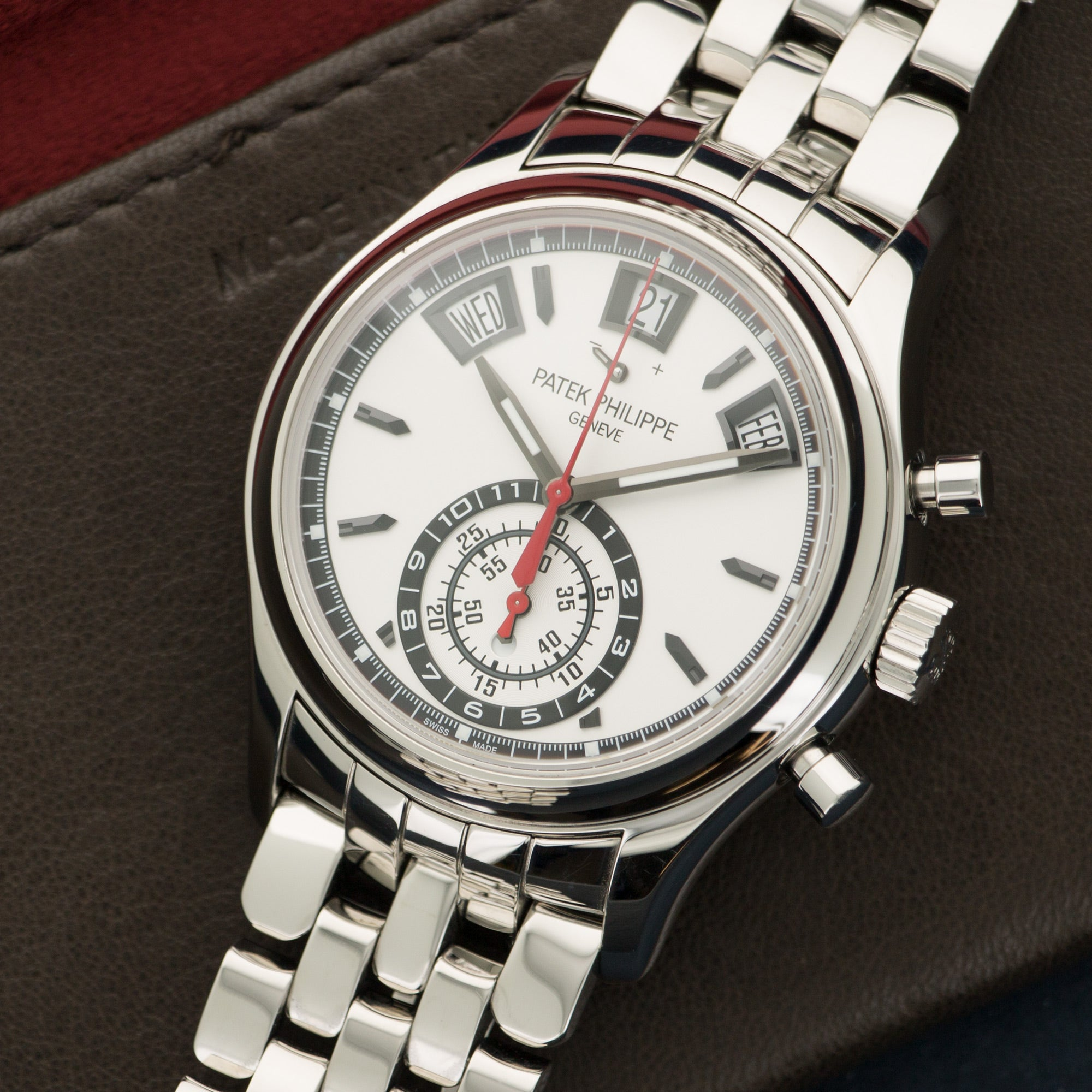 Patek Philippe Chronograph 5960/1A Steel  Mint Gents Steel White 40.5mm Automatic 2010s Stainless Steel Handmade Leather Travel Pouch