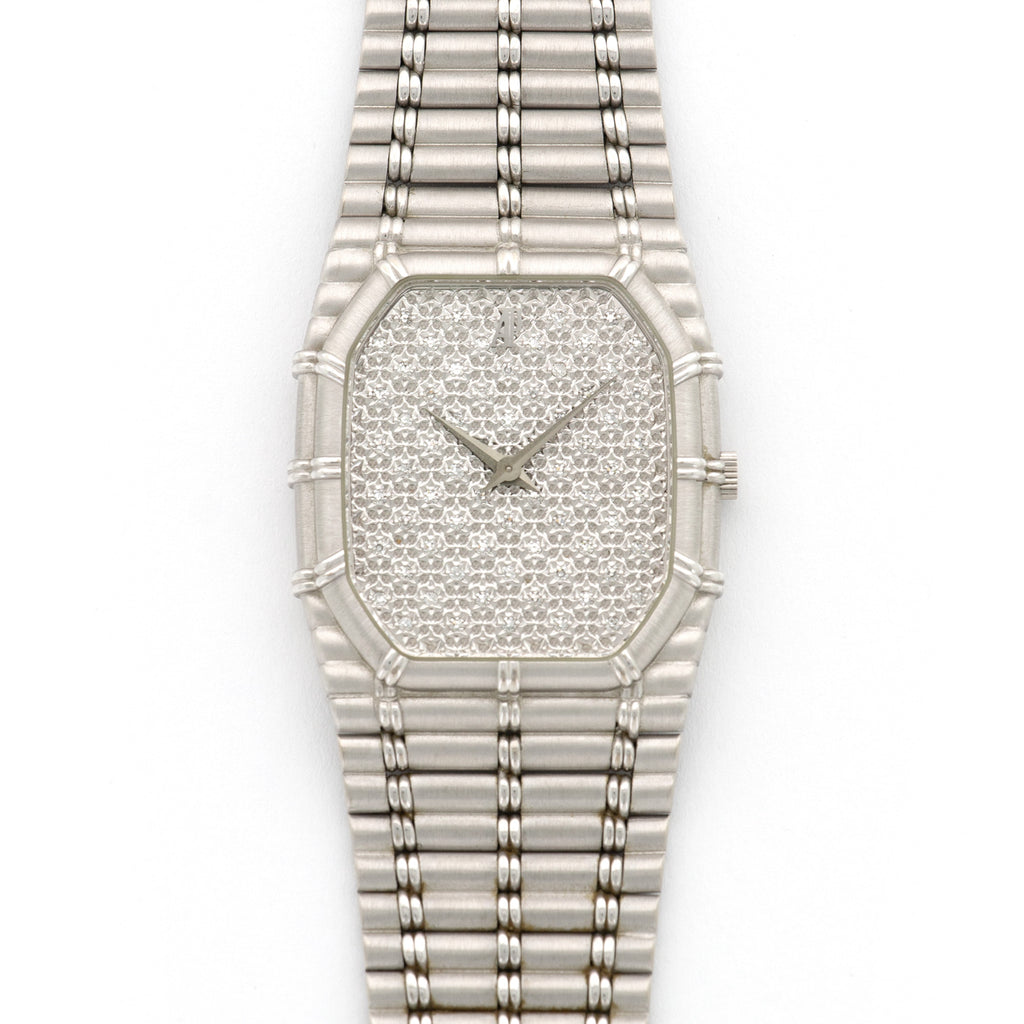 Audemars Piguet Bamboo N/A 18k WG  Likely Never Polished, Original Finish Unisex 18k WG Diamonds 27mm Quartz 1980s White Gold Bracelet Leather Travel Case