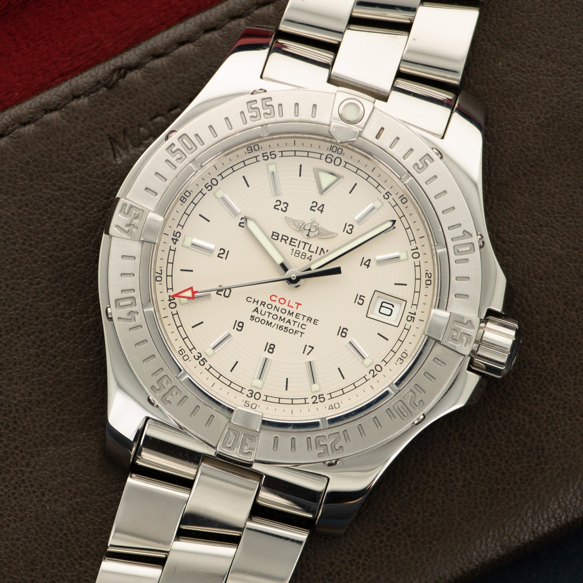 Breitling Colt A17380 Steel  Excellent Gents Steel Cream 41mm Automatic 2000s Steel Bracelet Handmade Leather Travel Pouch