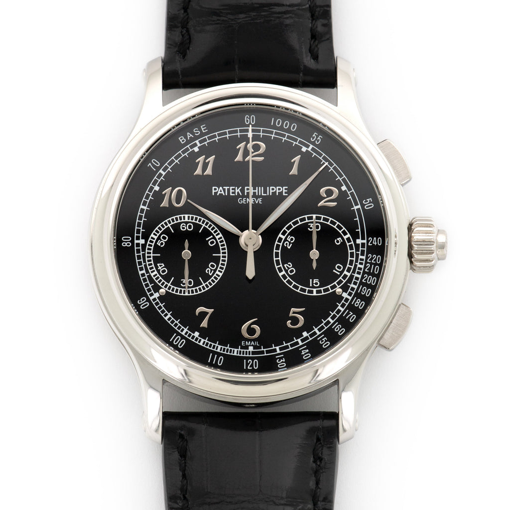 Patek Philippe Chronograph 5370P-001 Platinum  Likely Never Polished, Original Finish Gents Platinum Black 41mm Manual 2017 Black Crocodile Box, Certificate, and Additional Solid Case Back