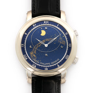 Patek Philippe Celestial 5102G 18k WG  Mint Gents 18k WG Blue 43mm Automatic 2006 Black Crocodile Original Box and Certificate