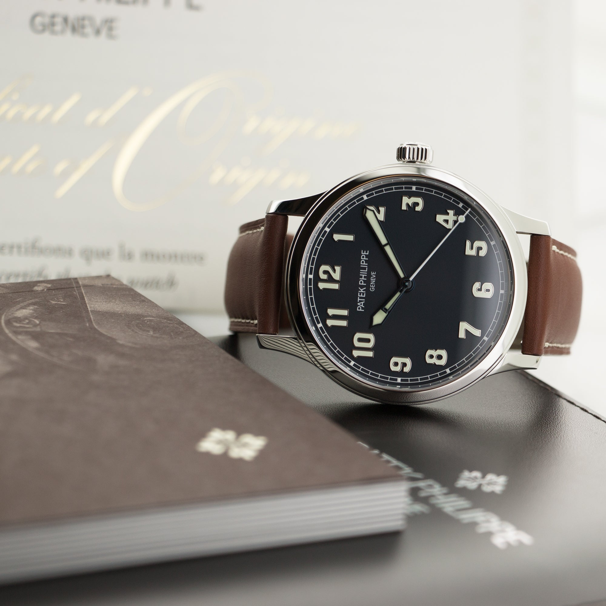 Patek Philippe Pilot 5522A Steel  Unworn Gents Steel Blue with Luminous Arabic Numerals 42mm Automatic Oct. 2017 Brown Calf Leather Original Box and Certificate
