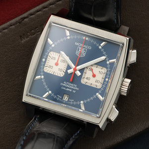 Tag Heuer Monaco CAW2111 Steel  Excellent Gents Steel Blue 39mm Automatic Current Croc Handmade Leather Travel Pouch