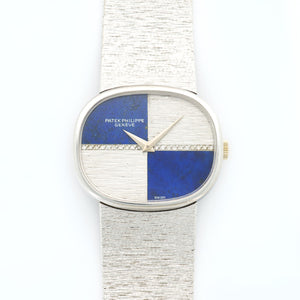 Patek Philippe Vintage 3845/909 18k WG  Excellent Unisex 18k WG Lapis and Diamond 32mm Manual 1970s White Gold