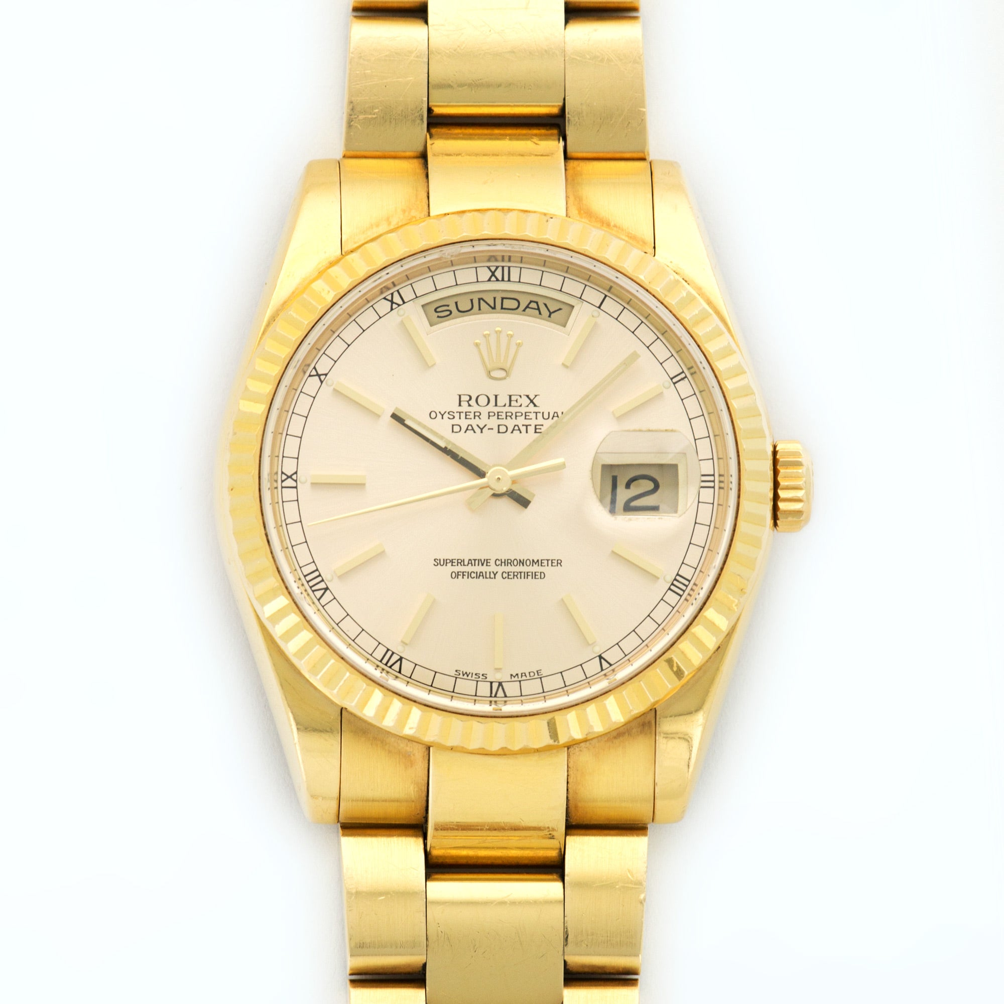 Rolex Day-Date 118238 18k YG  Excellent Gents 18k YG Silver 36mm Automatic 2001 Yellow Gold Oyster Bracelet N/A