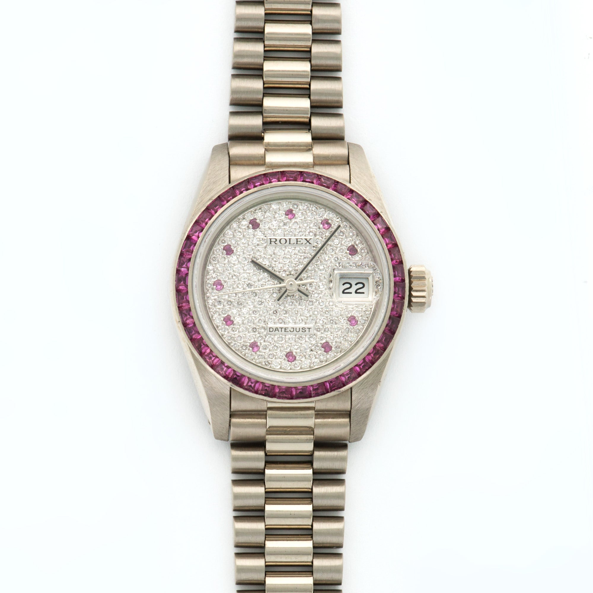 Rolex Datejust 69119 18k WG  Excellent Ladies 18k WG Pave Diamond with Pink Sapphire Markers 26mm Automatic 1980s White Gold (6 3/4) Serv. Papers
