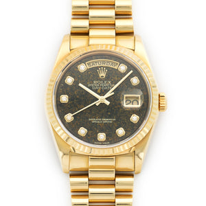 Rolex Day-Date 18238 18k YG  Excellent Gents 18k YG Stone with Diamond Markers 36mm Automatic 1999 Yellow Gold N/A