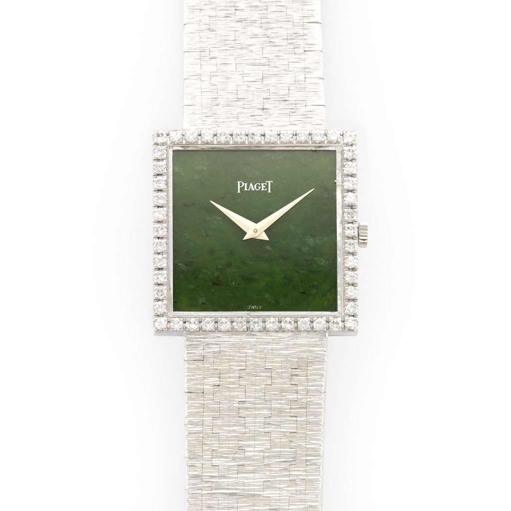 Piaget Vintage 9126 18k WG  Mint Unisex 18k WG Nephrite Jade 25mm X 25mm Manual 1970s White Gold Bracelet (175mm) Leather Travel Case
