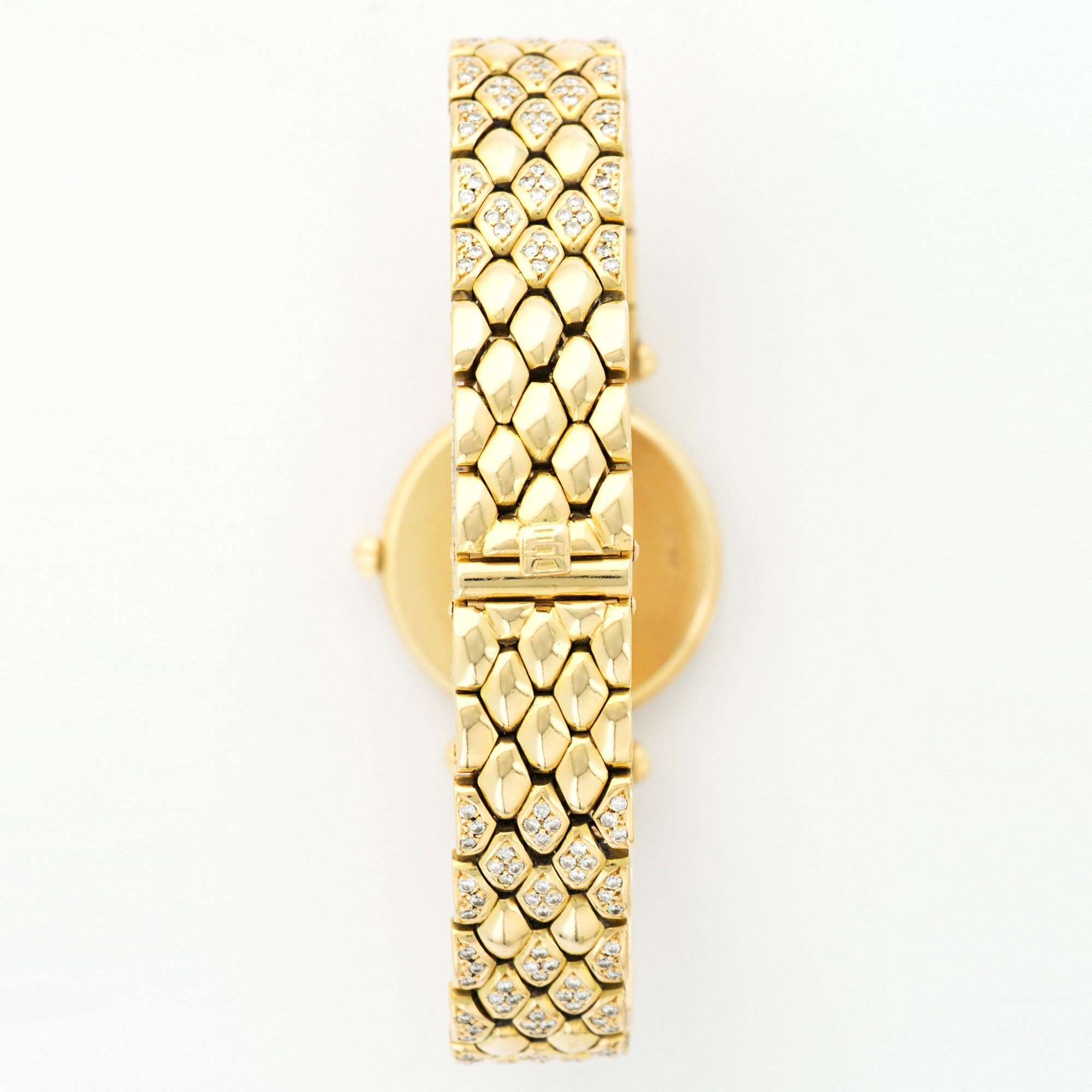 Van Cleef & Arpels Classiques 13607 18k YG  Excellent Ladies 18k YG White 24mm Quartz 2000s Yellow Gold Bracelet with Diamonds N/A
