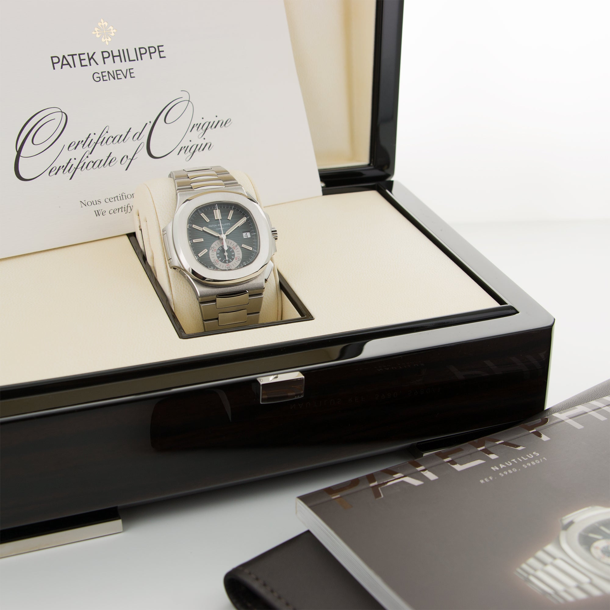 Patek Philippe Nautilus Chronograph 5980/1A Steel  Mint Gents Steel Blue 40.5mm Automatic 2011 Stainless Steel Bracelet B+P