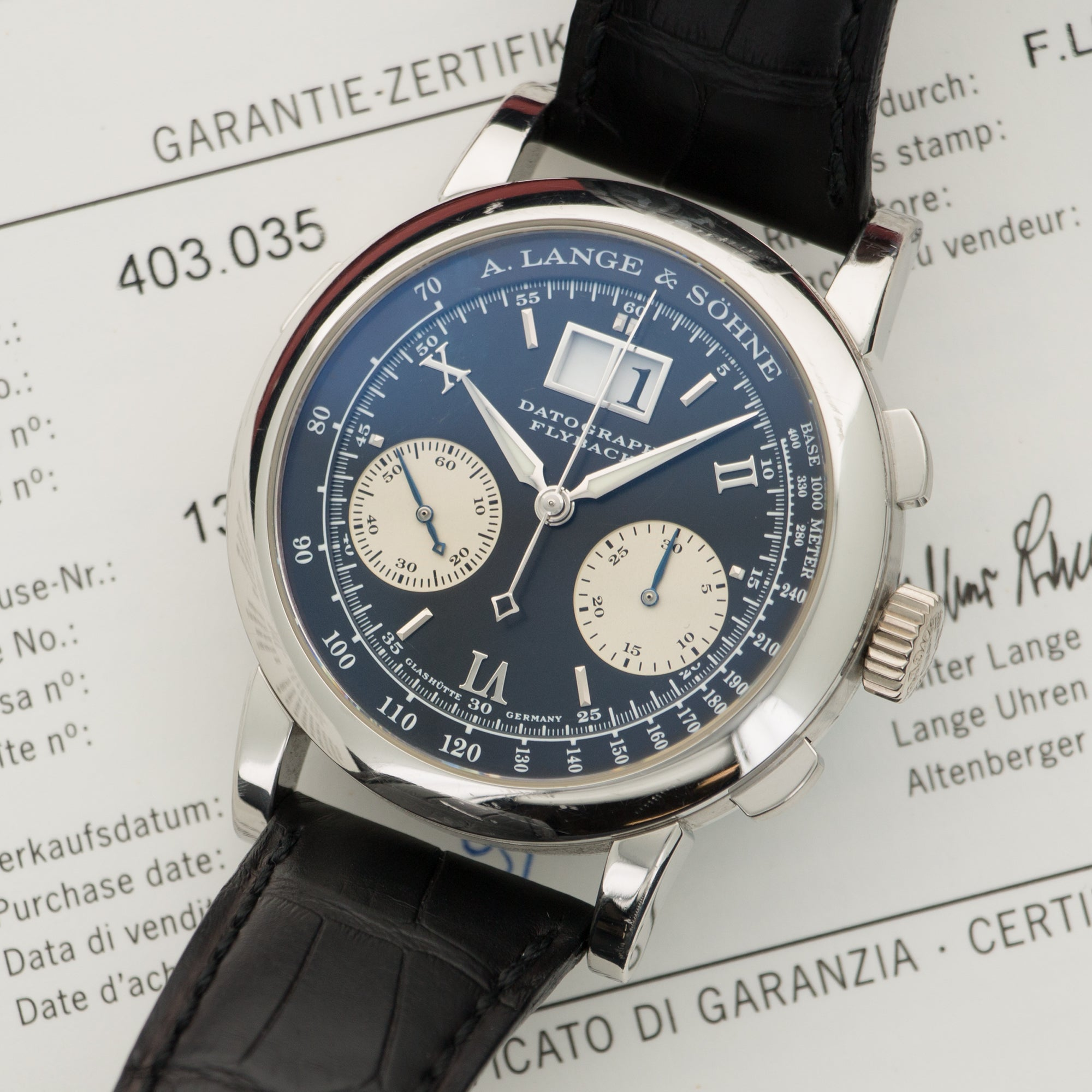 A. Lange & Sohne Datograph 403.035 Platinum  Likely Never Polished, Original Finish Gents Platinum Black with Silver Subsidiary Dials 40mm Manual 2001 Black Crocodile Original Box and Certificate