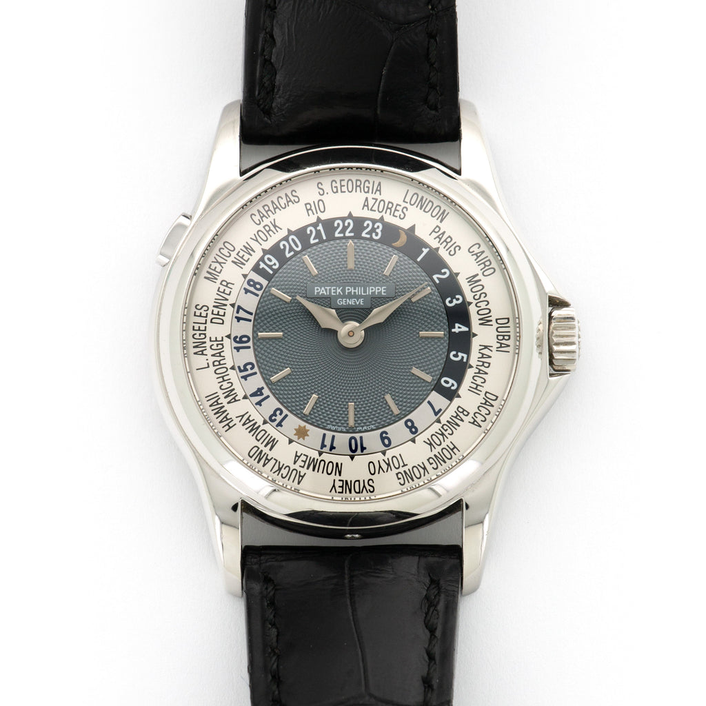 Patek Philippe World Time 5110P Platinum  Likely Never Polished, Original Finish NO STYLE SPECIFIED Platinum Silver and Blue 37mm Automatic 2002 Black Crocodile Extrait de Registre