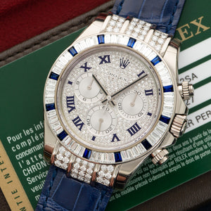 Rolex Daytona 11659912SA 18k WG  Like New, Worn a Few Times Unisex 18k WG Pave Diamond with Blue Romans 40mm Automatic 2013 Blue Crocodile Strap Box, Manuals, Warranty Card