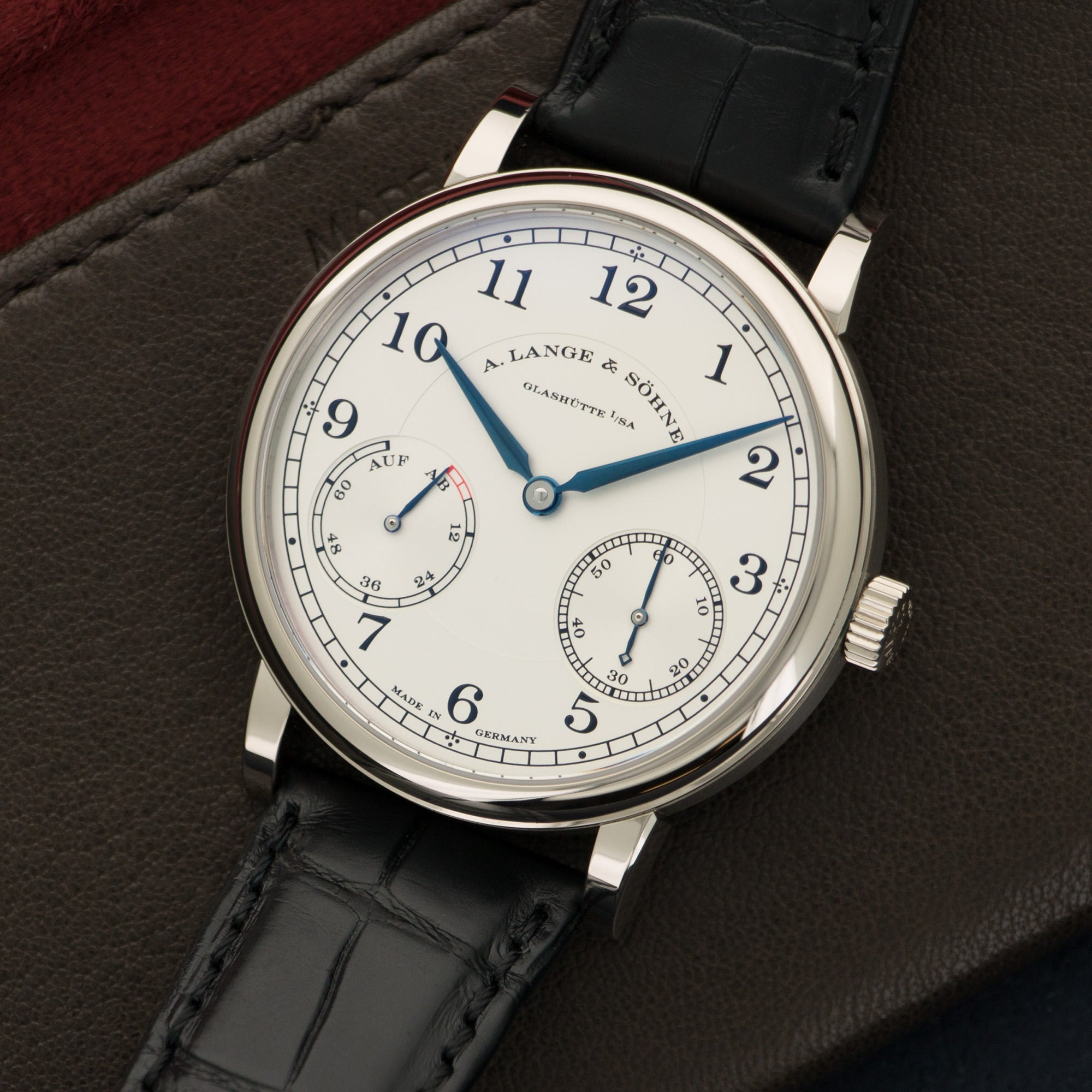 A. Lange & Sohne 1815 234.026 18k WG  Like New, Worn a Few Times Gents 18k WG Silver 39mm Manual 2015 Black Crocodile Strap Original Box and Certificate