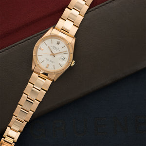 Rolex Date 1501 18k RG  Mint Gents 18k RG Silver 34mm Automatic 1960s Rose Gold Rivet Bracelet N/A