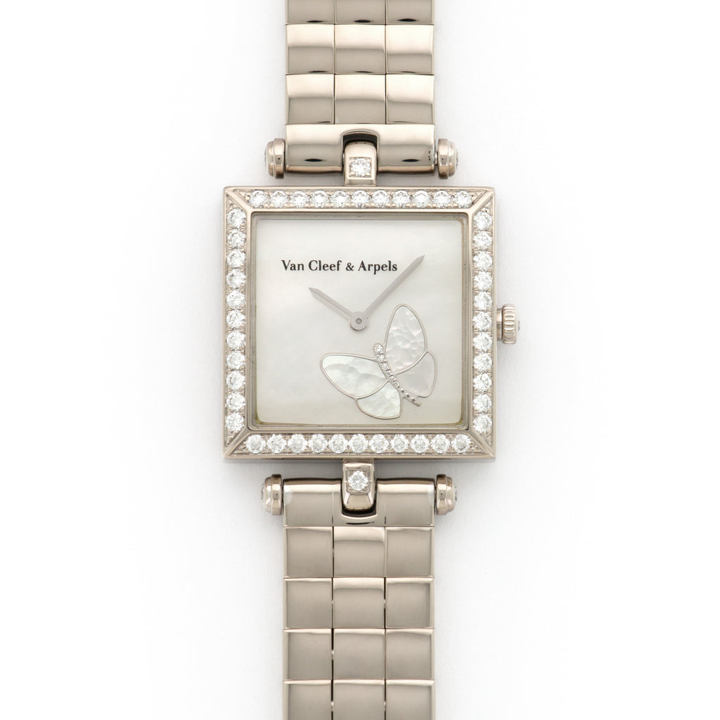 Van Cleef & Arpels Papillon HH22988 18k WG  Excellent Ladies 18k WG Mother of Pearl 25MM Quartz 2000S White Gold Bracelet (6.5) Original Box