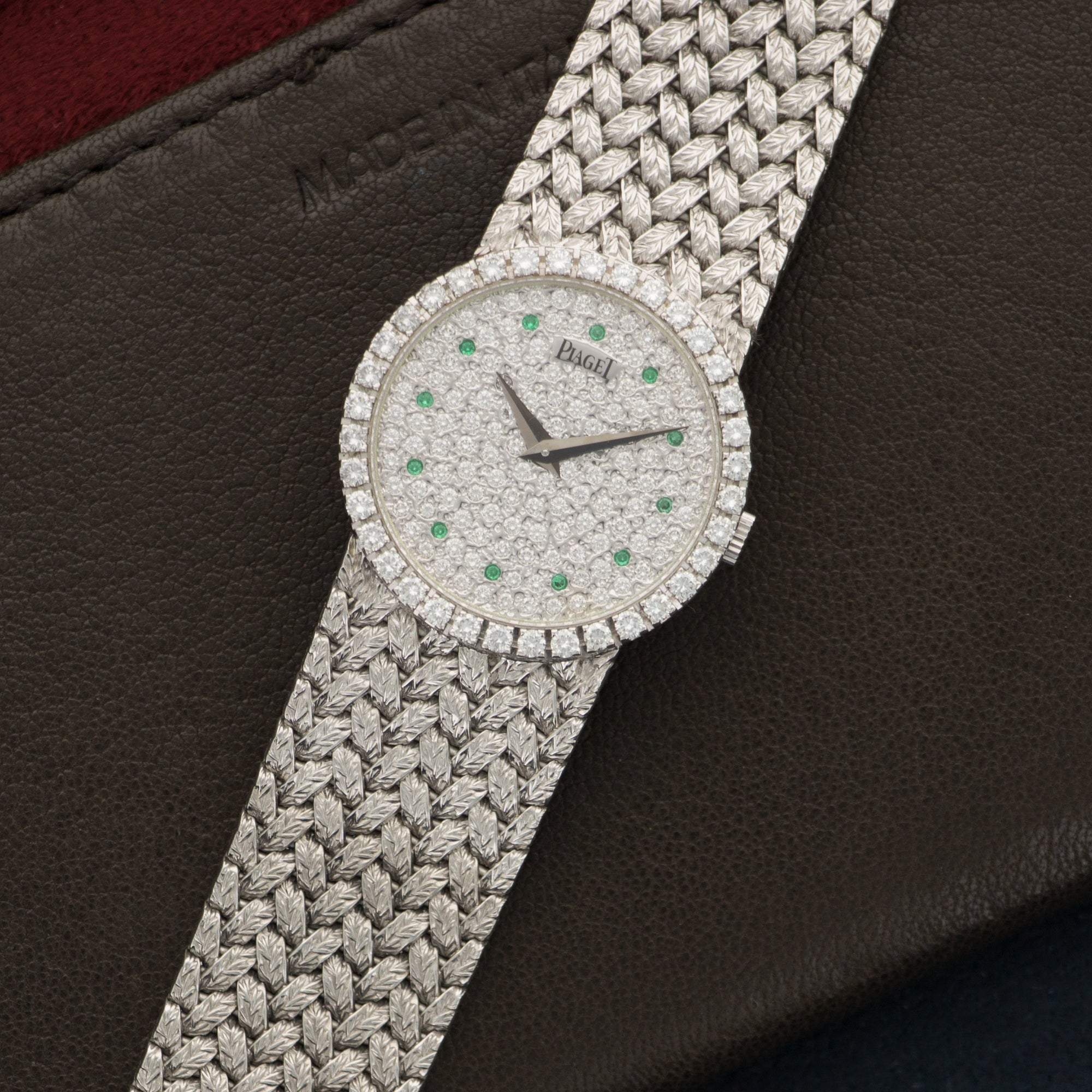 Piaget Vintage 9706 18k WG  Excellent Ladies 18k WG Pave Diamond with Emerald Markers 25mm Manual 1970s White Gold Bracelet Handmade Leather Travel Pouch