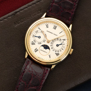 Audemars Piguet Vintage N/A 18k YG  Excellent Unisex 18k YG Calendar and Moonphase 33mm Automatic 1980s Burgundy Crocodile Strap Leather Travel Case
