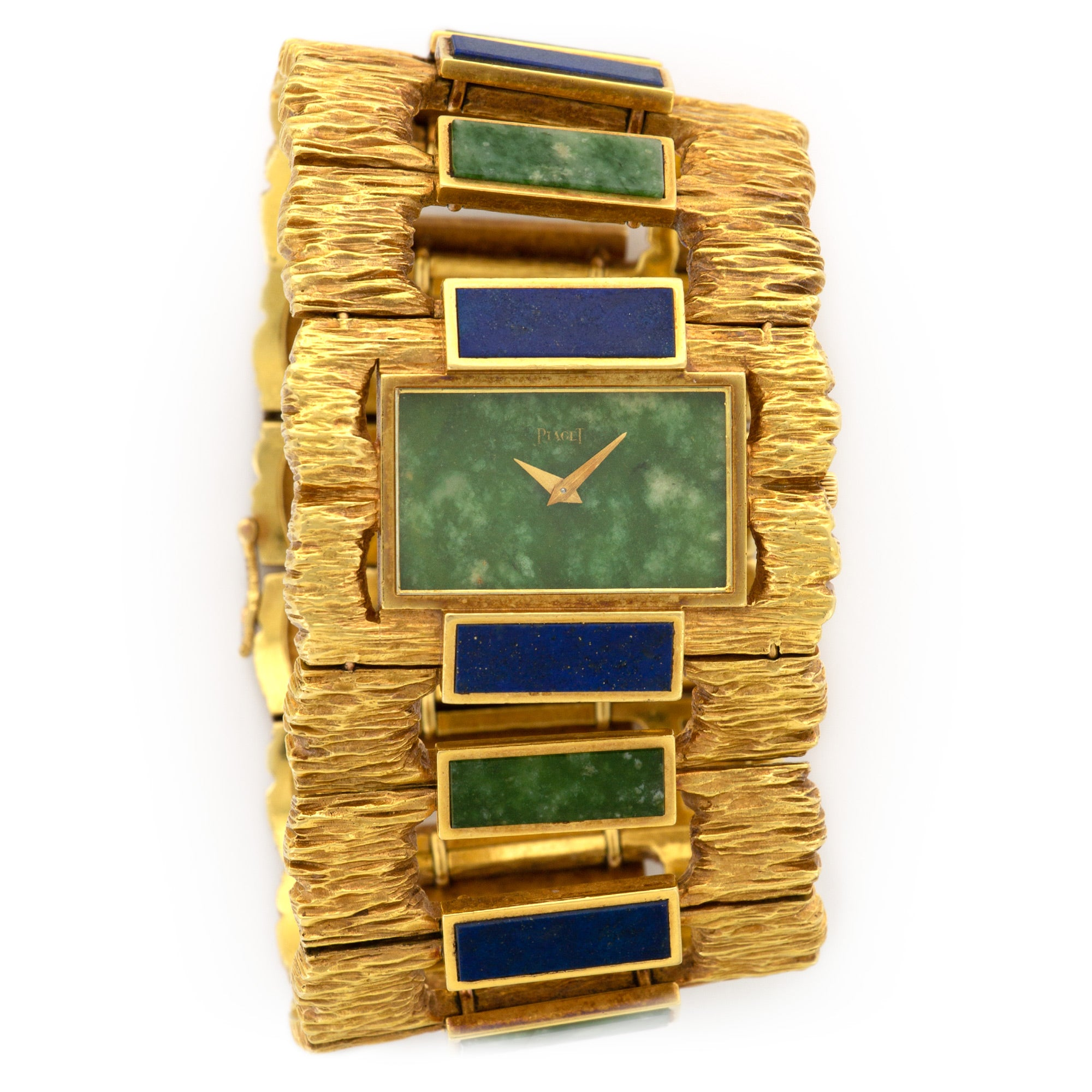Piaget Vintage 9212 18k YG  Mint Ladies 18k YG Nephrite Jade 42mm Manual 1970s Yellow Gold Lapisi and Nephrite Jade Handmade Leather Travel Pouch
