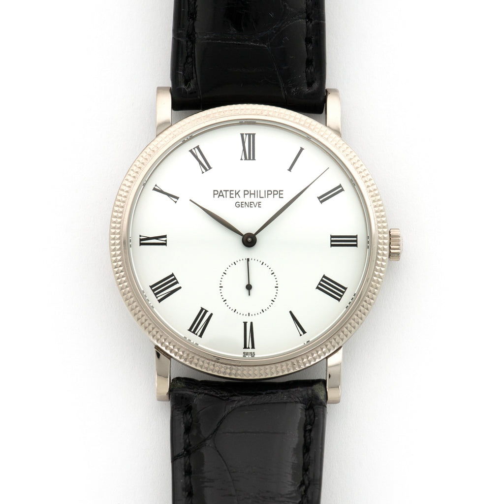 Patek Philippe Calatrava 5119G 18k WG  Mint Gents 18k WG White with Black Roman Numerals 36mm Manual 2008 Black Crocodile Original Warranty Paper