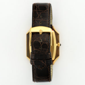 Patek Philippe Vintage 3729 18k YG  Likely Never Polished, Original Finish Unisex 18k YG Onyx 31mm X 37mm Manual 1970s Brown Crocodile Strap Handmade Leather Travel Pouch