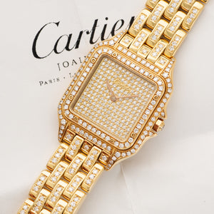 Cartier Panthere N/A 18k YG  Mint Unisex 18k YG Original Pave Diamond Dial 29mm Quartz 1990s Yellow Gold with Original Factory Diamonds Original Box