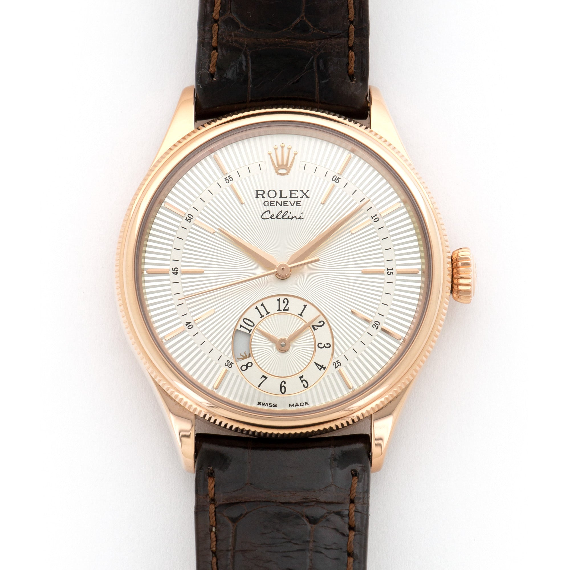 Rolex Cellini 50525 18k RG  Likely Never Polished, Original Finish Unisex 18k RG Silver 39mm Automatic Current Brown Crocodile Original Box