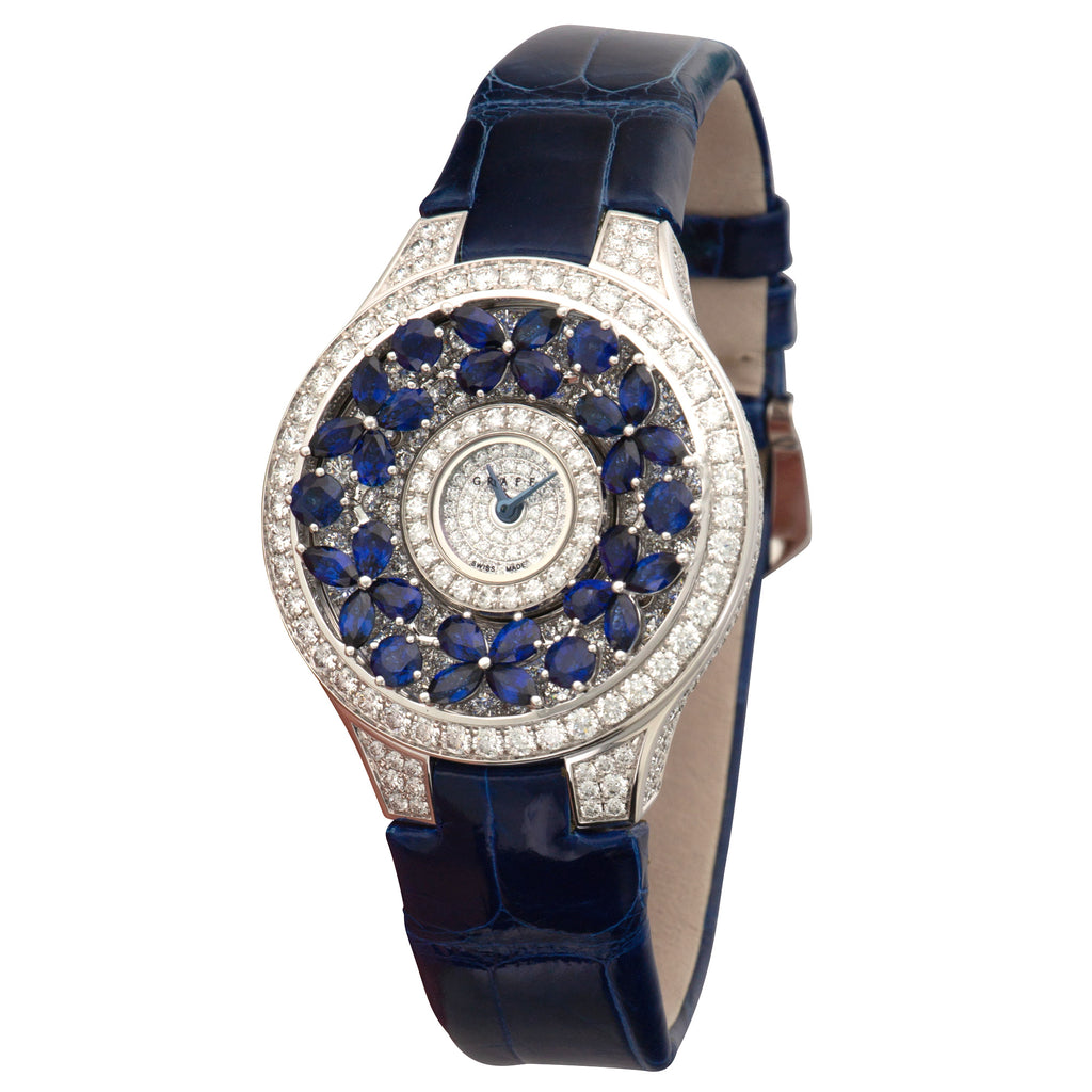 Graff Butterfly BF32WGSD 18k WG  Unworn Ladies 18k WG Diamonds and Sapphires 33mm Quartz Current Blue Crocodile Original Box and Certificate