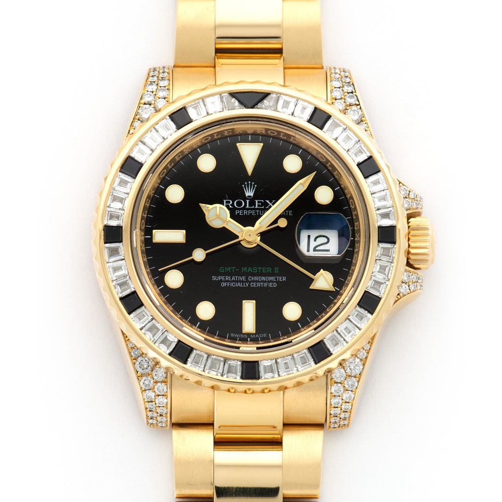 Rolex GMT-Master II 116758SANR 18k YG  Thick Case with Signs of Original Finish Unisex 18k YG Black 40mm Automatic 2007 Yellow Gold Bracelet Box, Manuals, Warranty Card