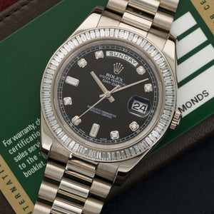 Rolex Day-Date II 218399 18k WG  Like New, Worn a Few Times Gents 18k WG Black Diamond 41mm Automatic Current White Gold Bracelet Box, Manuals, Warranty Card