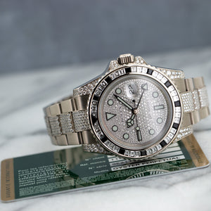 Rolex GMT-Master II 116759SANR 18k WG  Excellent Unisex 18k WG Pave Diamond 40mm Automatic 2013 White Gold with Original Baguette Diamond Bracelet Box, Manuals, Warranty Card