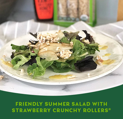 FRIENDLY SUMMER SALAD WITH STRAWBERRY CRUNCHY ROLLERS