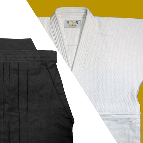 Tall Size Double Layered Gi + Black Cotton Hakama Set