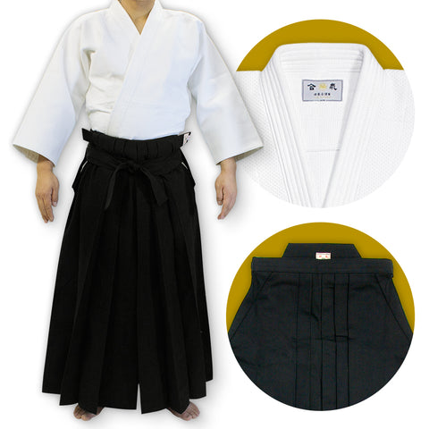 Double Layered Gi + #11000 Traditional Black Cotton Aikido Hakama Set