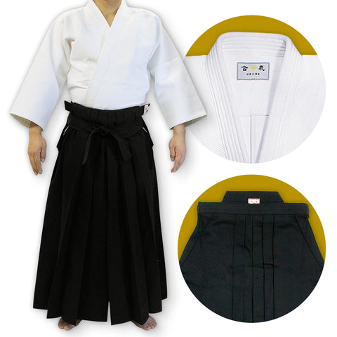 Double Layered Gi [DX] + #11000 Traditional Black Cotton Aikido Hakama Set