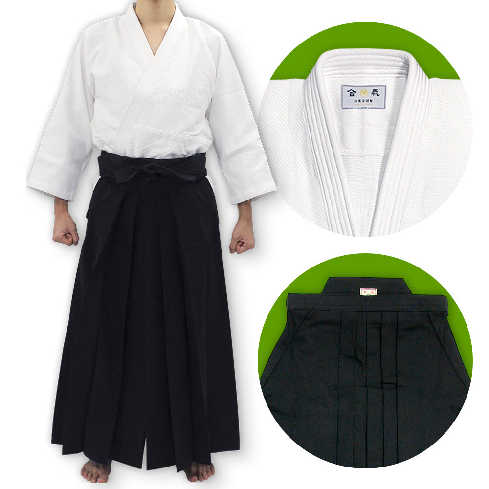Single Layered Gi + #11000 Traditional Black Cotton Aikido Hakama Set