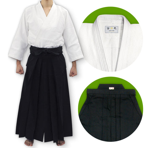 Single Layered Gi [DX] + #11000 Traditional Black Cotton Aikido Hakama Set