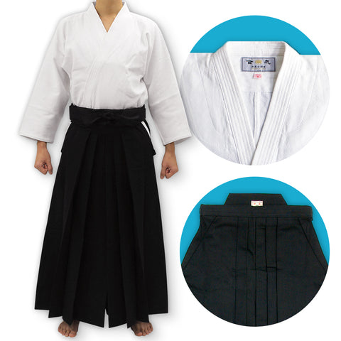 """TENMA"" Ultra-lightweight Gi + #11000 Traditional Black Cotton Aikido Hakama Set"