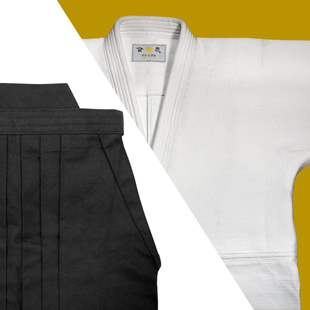 Tall Size Double Layered Gi [DX] + Black Cotton Hakama Set
