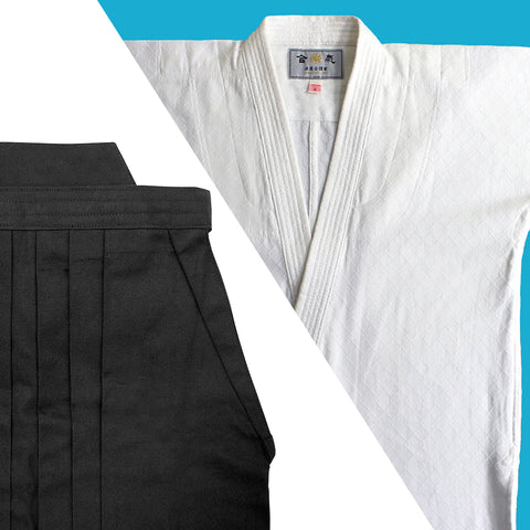 "Tall Size ""TENMA"" Ultra-lightweight Gi + Black Cotton Hakama Set"