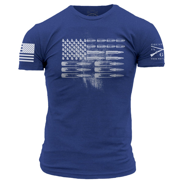 Grunt Styles royal blue ammo flag t-shirt brought to you by American Pride Apparel and Gifts.